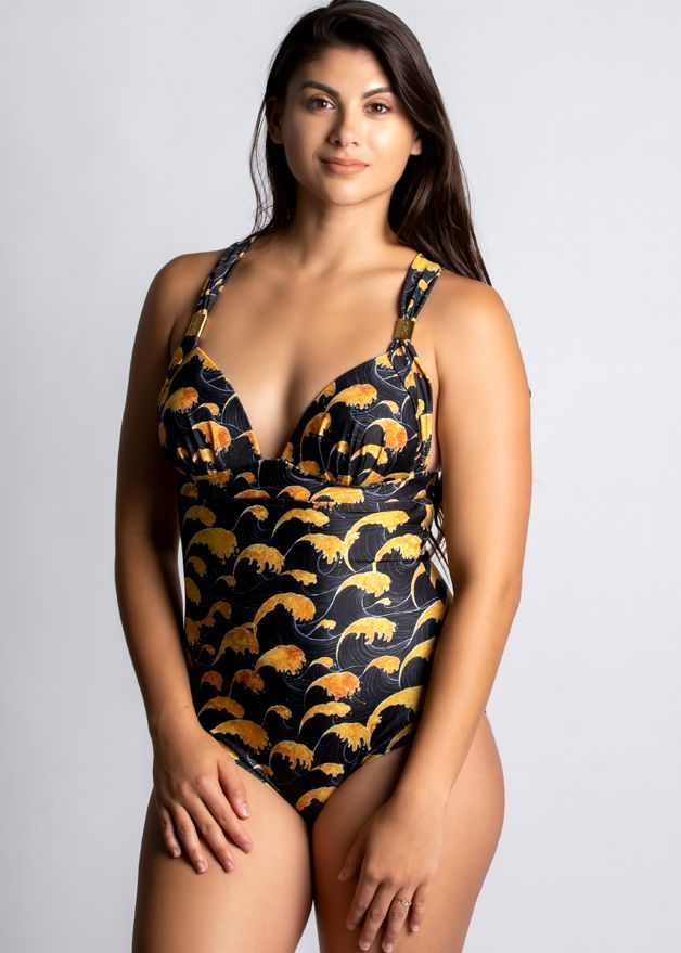 Sea of Gold Calypso Halter One Piece