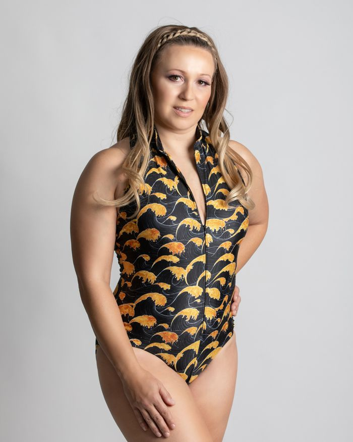 Sea of Gold Zipper Racerback One Piece