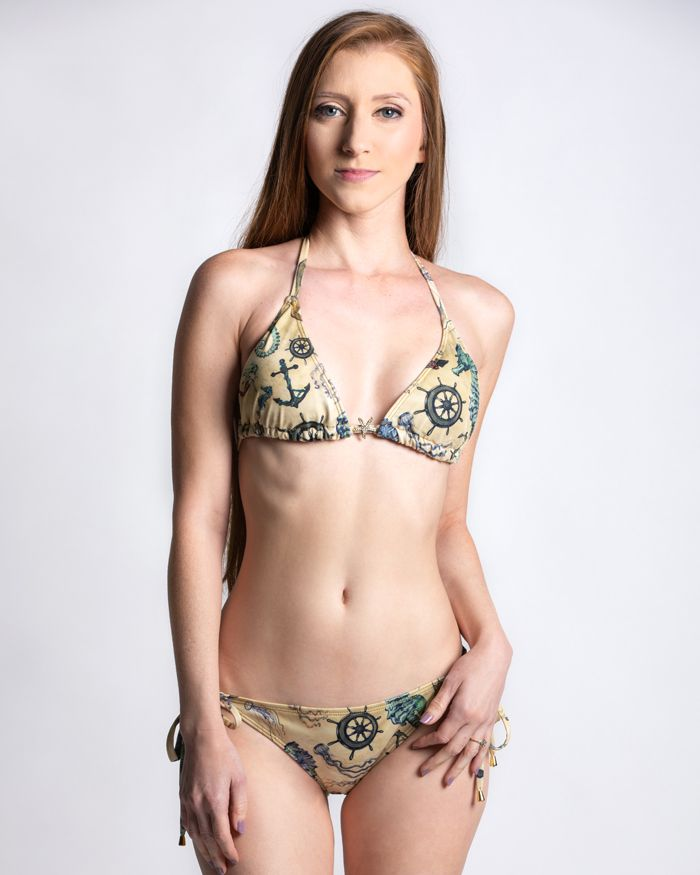 Vintage Mermaid Triangle Bikini Top